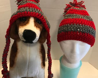 Crochet Dog Hats with matching Owners Hat.  Hand made by Kams-store.com