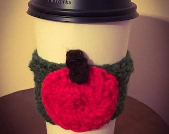 Apple cup cozy,crochet coffee sleeve with apple apple cup cozy gift for teacher fall coffee sleeve tea crochet beverage cozy, apple drink