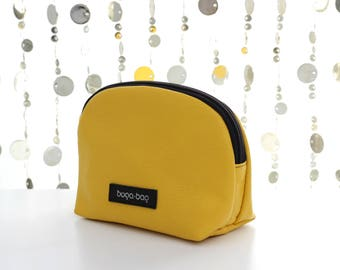 Yellow leather cosmetic case, leather makeup bag, zipper pouch, toiletry bag, cosmetic bag, leather makeup case, small makeup case, clutch