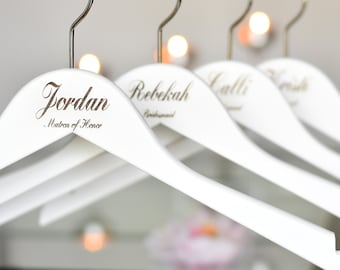 SET OF 7 Wedding Hangers, Bridesmaid Gift, Engraved Hangers, White Hangers, Bridal Hanger, Bridesmaid Hanger, Personalized Hanger H03
