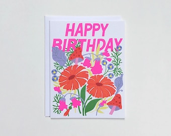 Mushroom and Floral Happy Birthday Note Card