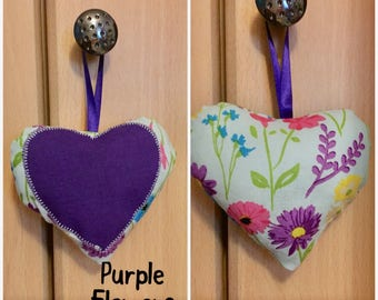 Lavender Heart, Filled, Stuffed, Hanging, Hearts, Fabric, Patchwork, Appliqué, Roses