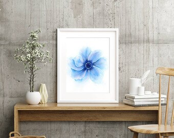 Art Print Watercolor Flower Painting, Indigo Navy Blue French Country Art, Shabby Chic Wall Decor, Floral Wall Art, Bridesmaid Gift for Her