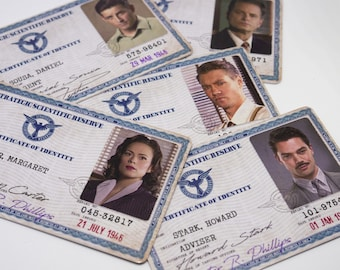 Marvel Agent Carter TV Show ID Badge, Peggy Carter, Hayley Atwell,  Daniel Sousa, Howard Stark, Strategic Scientific Reserve, S.S.R.