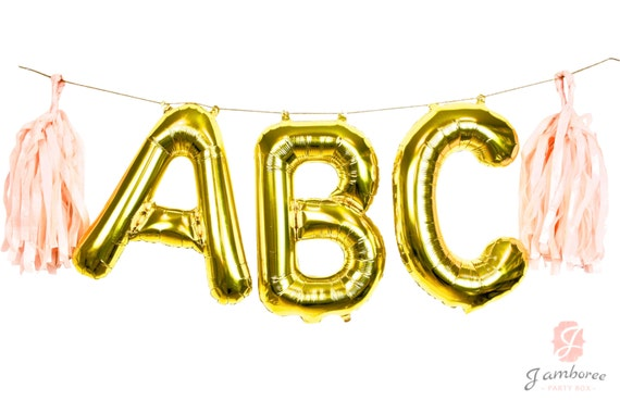"16"" Custom Gold Balloon Banner, Wedding Photo Prop, Giant Balloon, Balloon Prop, Letter Balloon, Balloon Tassel Kit, Gold Glitter Party"