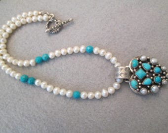 "Luscious Fresh Water Pearl Necklace with Turquoise> 16 1/2"" Long> 7/8mm Pearls> New old stock"