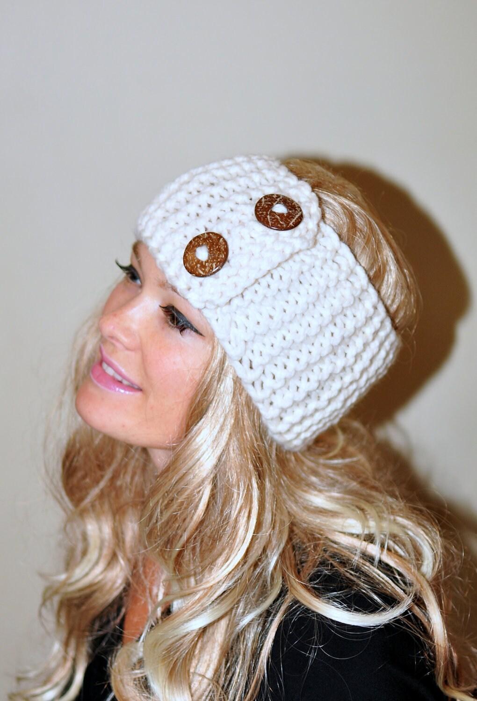 Earwarmer buttons winter wool crochet headband chunky ear zoom bankloansurffo Gallery