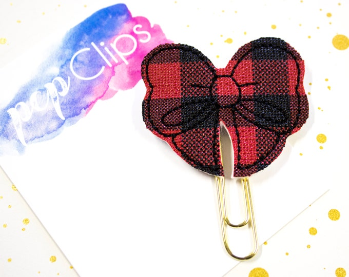 Featured listing image: Buffalo Plaid Planner Clip - Planner Bookmark - Black and Red Buffalo Plaid Bow Planner Planner clip - Bow clip- Feltie planner clip