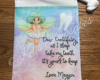 Personalised tooth fairy bag, pouch, mini bag,