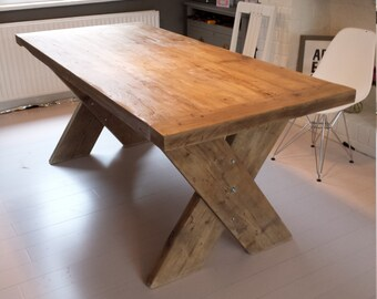 Reclaimed Wood Dining Table With Cross X Legs Made To Measure Hand Industrial