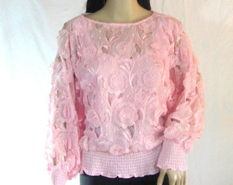 1980's Pink Floral Flocked SLOUCH BLOUSE by Andree Gaye M L