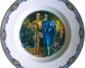 The Odd Couple - C3PO - R2D2 - Vintage Porcelain Plate - #0572