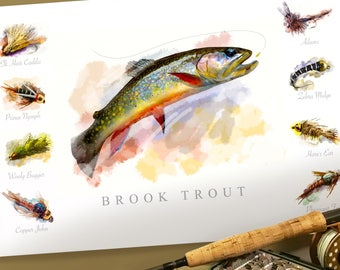 Brook Trout Fly Fishing and Flies Watercolor Poster Print 19 x 13