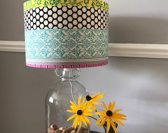 Bespoke Drum Lampshade in Bright Patterned print