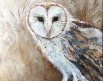 La Chouette-effraie - The Barn Owl - Original Oil Painting by Ericka O'Rourke