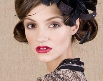 Black sinamay twists and feathers - black fascinator - black wedding headpiece