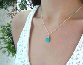 Turquoise pendant in sterling silver necklace, turquoise, natural turquoise, turquoise charm, sleeping beauty turquoise, something blue