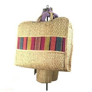 Straw purse, straw bag, tote bag, straw tote large 70s big beach 1970s boho bohemian hippie stripe  woven vintage wicker raffia woven
