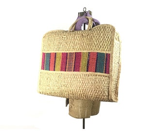 Straw purse, straw bag, tote bag, straw tote large 70s big beach 1970s boho bohemian hippie stripe  woven vintage wicker raffia woven