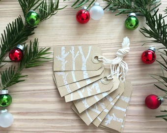 10 Christmas Gift Tags with aspen tree trunks  - Kraft Tags, White Tags, Christmas Gift Wrap, christmas favor tags, family gift tags, tags