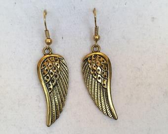 Golden Angel Wing Earrings/Dangle Drop Earrings
