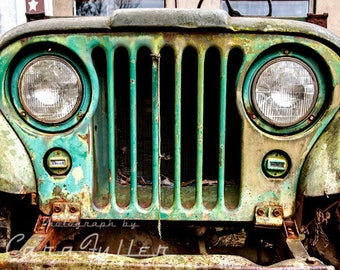 Old Green Willys Jeep front grill Photograph