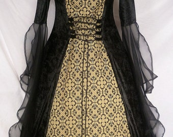 Ready Made Black and Gold Gothic Hooded Dress, Medieval Gown, Renaissance Clothing Medieval Costume, Gothic Wedding Ready To Be Shipped