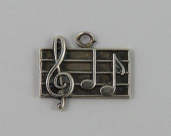 Music Sheet Sterling Silver Vintage Charm For Bracelet