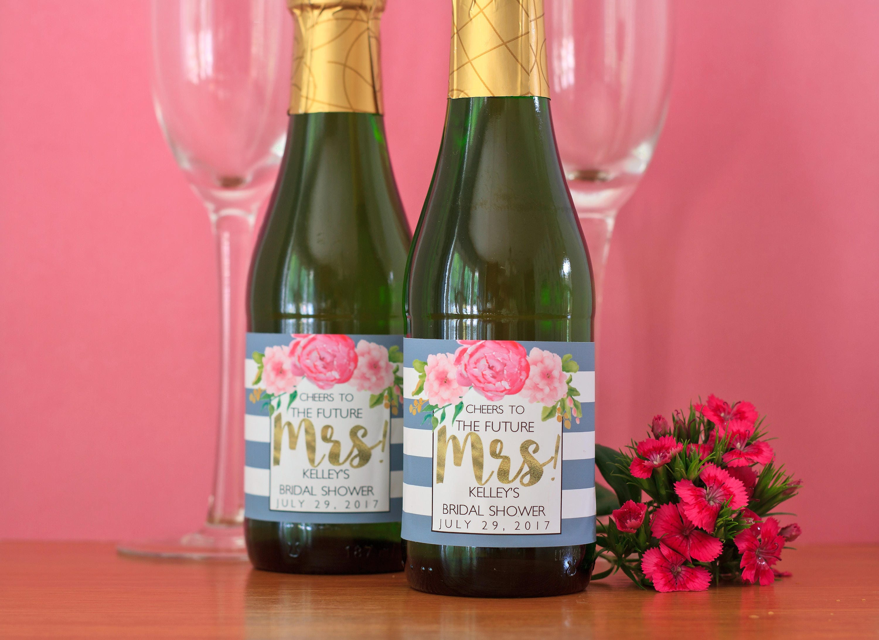Floral Bridal Shower Mini Champagne Label Peony Bridal