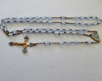Blue Enamel Our Lady of Lourdes Rosary - Antique Rosaries - Virgin Mary Rosary Beads - French Rosary - Religious Jewelry - Catholic Gifts