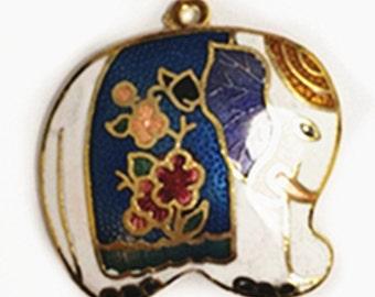1pc Handmade 31x30mm Cloisonne Enamel Elephant Pendant-9313L