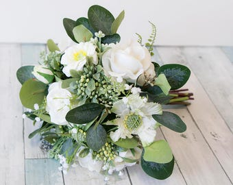 Wild Garden Flowers - Silk Wedding Bouquet - Real Touch Roses Peonies and Eucalyptus Bridal Bouquet