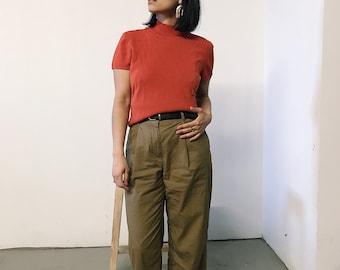 vintage 90s burnt orange mockneck shirt // medium