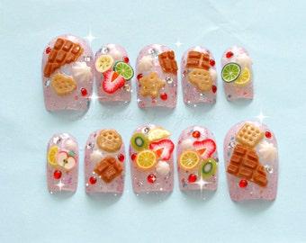 Fake sweets, deco nail, Japanese 3D nail, Japanese nail art, fruit, chocolate, cookie, glittery, press on nail, full cover nail, Harajuku