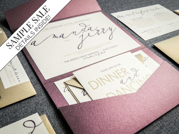 Modern Calligraphy Wedding Invitations Purple Wedding