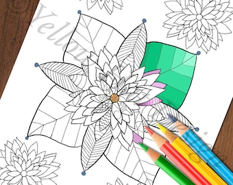 Flower Coloring Page, Lotus Coloring Page, Adult Coloring Page