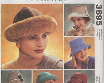 """Misses Cloche and 5 other  Hats  Sewing Pattern McCalls 3895   uncut  Size 22"""" 23"""" 24"""""""