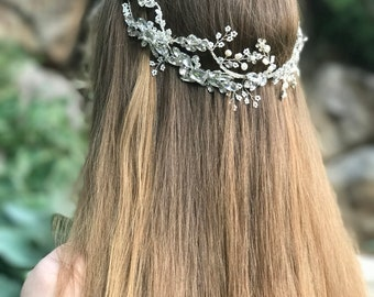 Gold Wedding Hair Jewelry, Gold Hair Accessory, Bridal Hair Vine, Crystal Hair Crown, Boho Wedding Head Piece, Beach Wedding Accessory