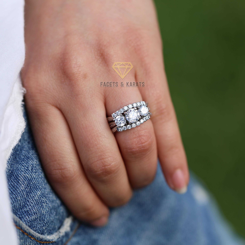 Unique Vintage Three Stone Engagement Ring Round Cut 2 5 Carat