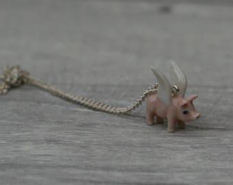 Porcelain Flying Pig Necklace, Pink Pig Necklace, Animal Necklace