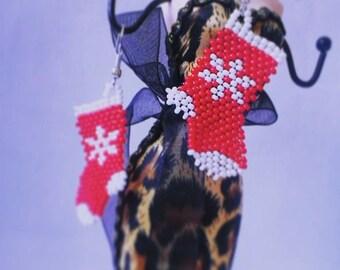 Beaded earrings Christmas sock Winter earrings New Year gift Christmas gift Gift for her Gift for woman Red socks Gift for girl Snowflake