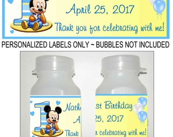 30 MICKEY MOUSE 1st birthday party bubble labels