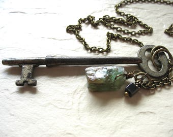 Kyanite Necklace, Green Kyanite Necklace, Skeleton Key Necklace, Kyanite Hematite Stone Necklace, Kyanite Jewelry