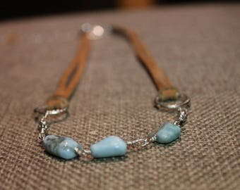 Wire Wrapped Stone and Suede Necklace