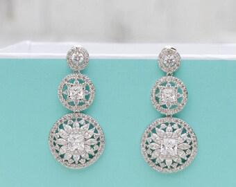 White Gold Earrings | Zircon Earrings | Sapphire Earrings | Bridal Earrings | Wedding Jewelry | Bridesmaid Earrings | Jewelry