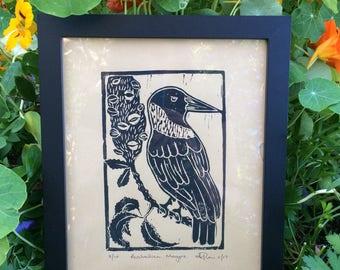 Australian Magpie & Banksia lino print
