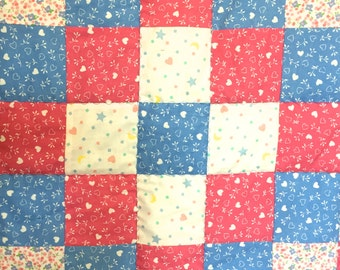 Baby Girl Quilt Pink, Blue, and White Hearts  Baby Blanket Bedding