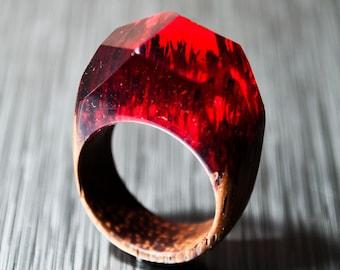 Bague rouge en bois et résine Cocktail à la main géométrique art Floral bague déclaration anneau individuels en bois bague en Resine