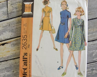 Vintage McCall's Sewing Pattern 2635 Size 10 Bust 32 1/2 Miss Petite Dress in Three Versions dated 1970