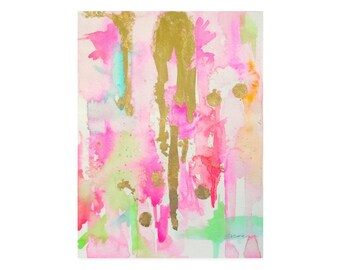 Watercolor-Pink-Abstract Art Print-Pink-Watercolor Painting-Gold-Wall Art-Abstract Painting-Abstract Painting-Abstract Wall Art-Artwork
